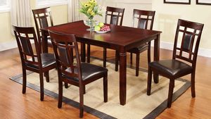 Brand new in stock dark espresso 7-piece dining table set padded chairs for Sale in Takoma Park, MD