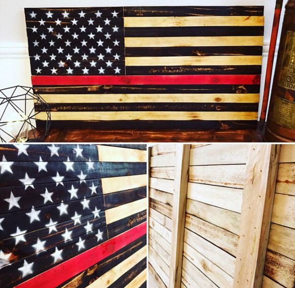Firefighter Thin Red Line Wooden American Flag For Sale In Land O Lakes Fl Offerup