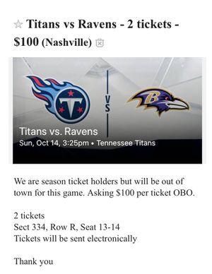 (2) Titans vs Ravens tickets for Sale in Nashville, TN