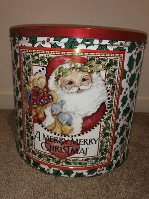 Big vintage popcorn tin Santa Clause Christmas Holly decor for Sale in Ashburn, VA