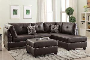 Brown sectional sofa new in boxes espresso leather faux sofa with ottoman new for Sale in Fort Lauderdale, FL
