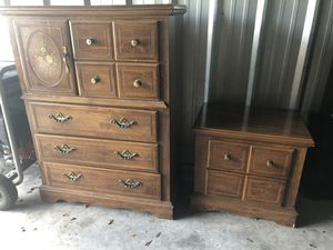Photo Solid wood armoire dresser chest & night stand set