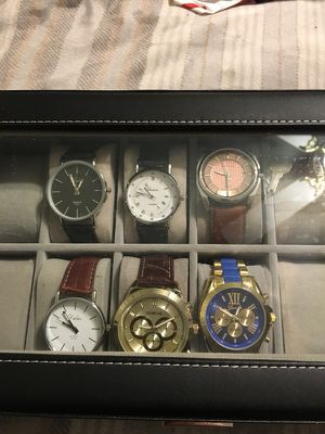 6 Men's Watches and leather lockable storage case for 12 watches for Sale in Apex, NC
