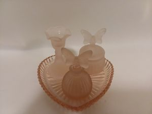 Vintage Frosted Pink perfume decanters for Sale in Orlando, FL