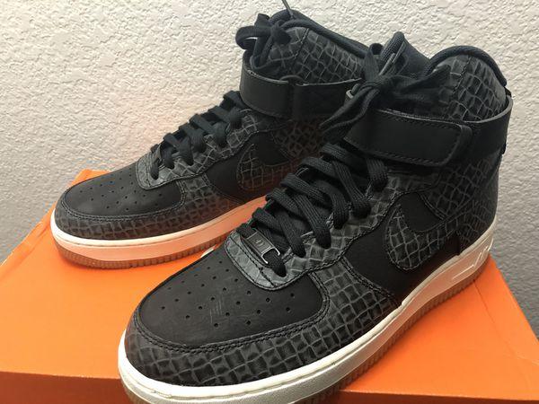 499339388609 Nike Air Force 1 HI Premium Womens 654440-009 Black Sail Gum Shoes Size 10