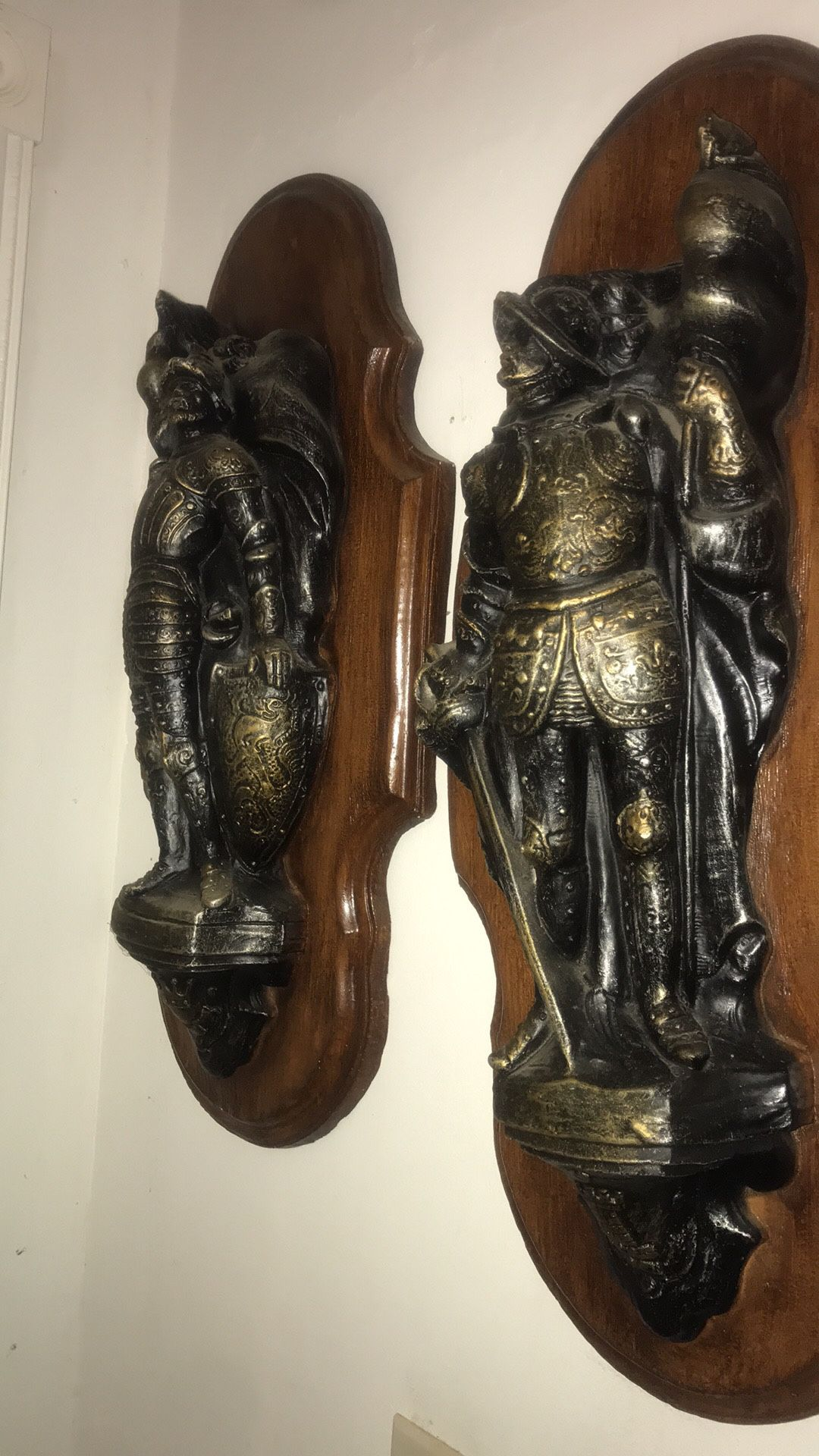 Set Of Two Beautiful Wood And Metal Antique Statue
