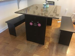 Dining table (foldable, with dining benches) for Sale in Arlington, VA