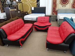 Brand new in box sofa and loveseat red and black combination brand new in box for Sale in Hyattsville, MD