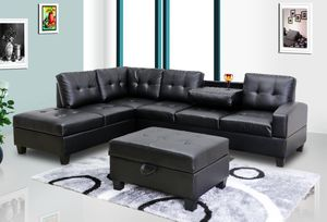 No money down no credit needed black leather sectional with ottoman for Sale in Silver Spring, MD