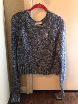 Abercrombie & Fitch Blue & White Knit Sweater, Small Thumbnail