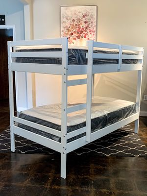 Photo Twin over twin white bunk beds and twin mattress