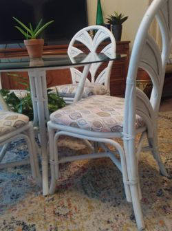 Vintage Bamboo Table and Chairs Thumbnail
