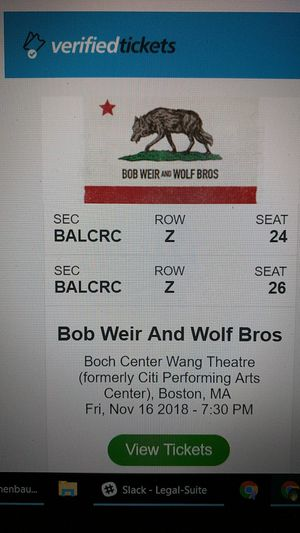 Bob Weir and Wolf pack @ Wang, Nov 16, 2 tickets for Sale in Dracut, MA