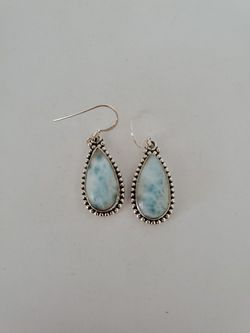 Genuine domecinan republic handcrafted Larimar earrings in 925 sterling silver Thumbnail
