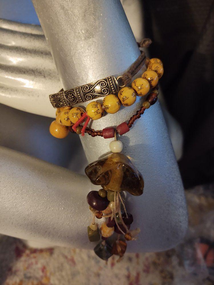 Set Lot Brown Jellyfish Necklace Bracelet Earrings