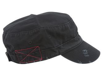 Distressed Washed Cadet Army Cap- Black Thumbnail