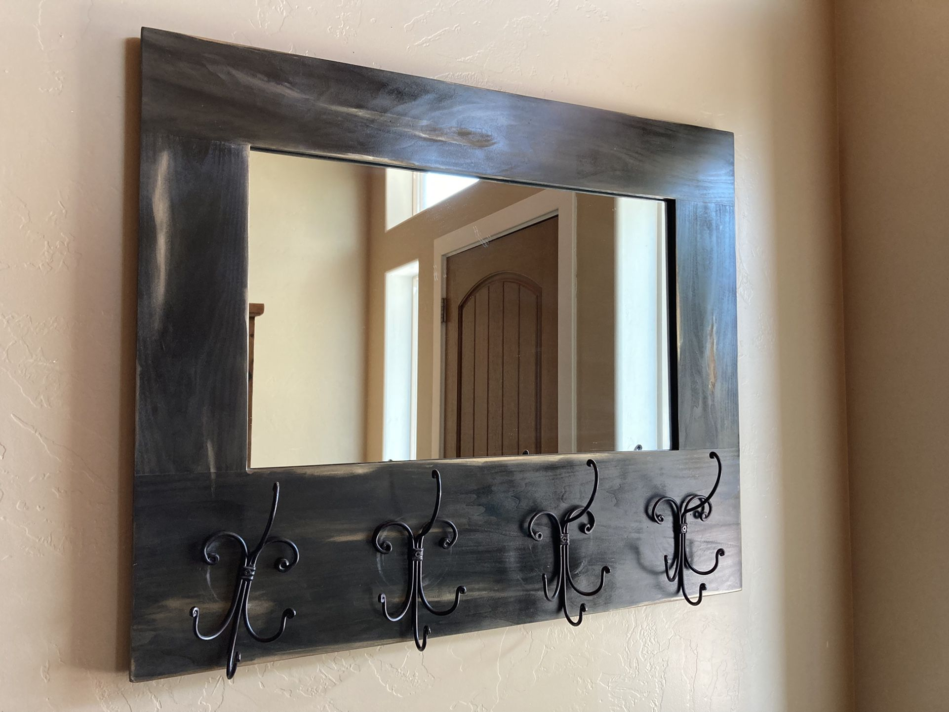 Large Entry Mirror  W Hooks