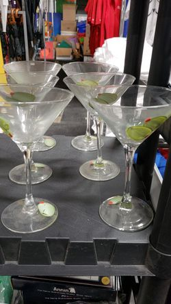 6 Hand Painted Novelty Green Olive Martini Glasses Thumbnail