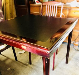 **NEWLY REFURBISHED EXPRESSO WOOD TABLE AND TWO MISSION STYLE CHAIRS** I Refinished this set completely with a Distressed, Red Mahogany Stain. - As y for sale  Broken Arrow, OK