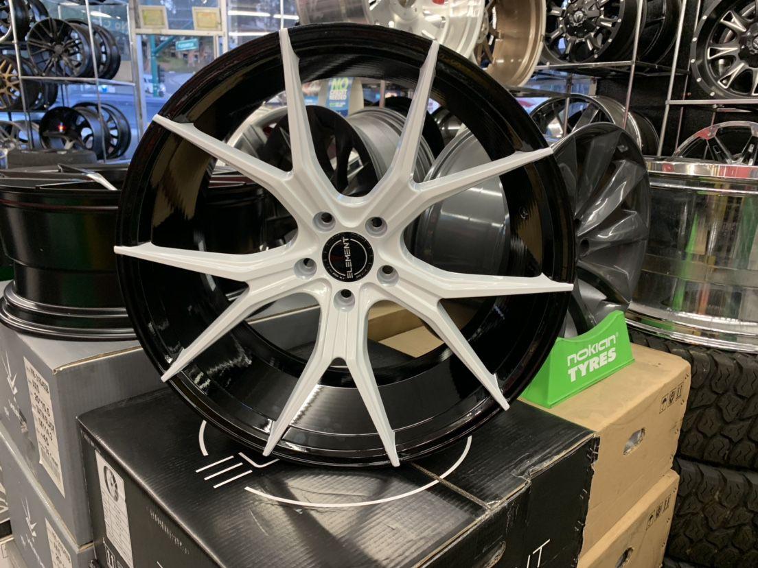 "Camaro 20"" Staggered New Element White W Blk Inside Rims Tires Set"