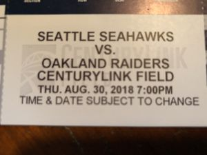 2 Great Seahawks Raiders Tickets, Aug. 30 $85 total for Sale in Seattle, WA