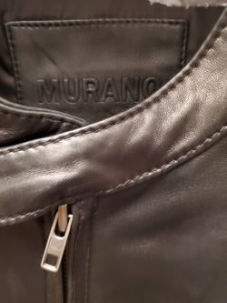 Black leather moto jacket (genuine lamb skin) Thumbnail