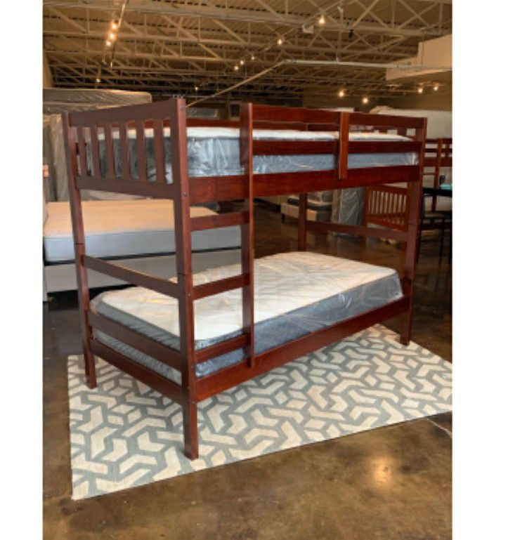 Twin Over Twin Cappuccino Bunk Beds With Plush Mattresses $379 And A Free Delivery