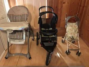 Evenflo high chair 4 in one! Expedition Jogger Stroller ! Threw in a Disney butterfly stroller for Sale in Henrico, VA