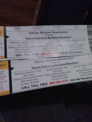 Online market revolution vip tickets for Sale in Las Vegas, NV