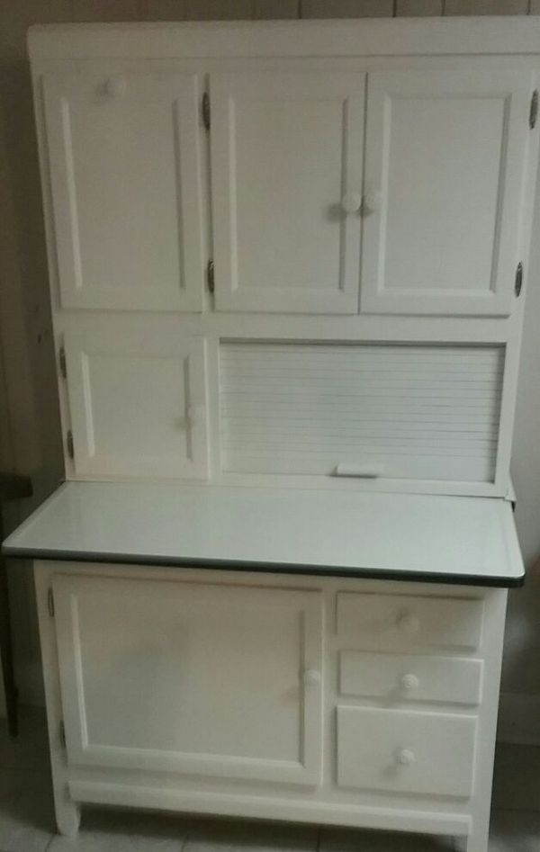 $500SOLD - Antique White Hoosier Cabinet With Flour Sifter For Sale In