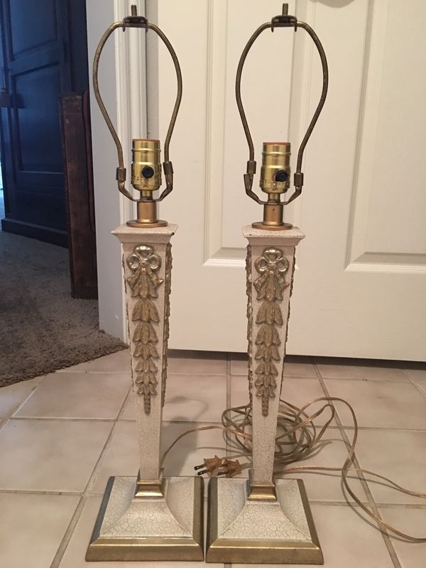 Gold And Cream Lamps Pair For Sale In Baton Rouge La
