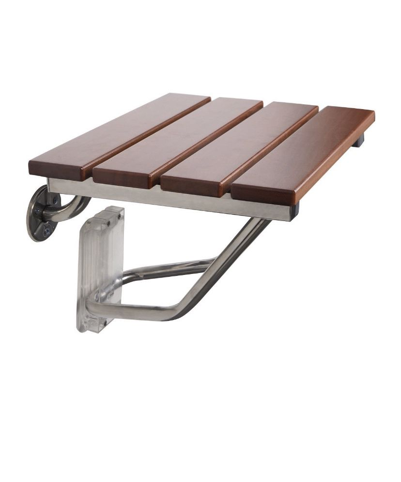Costway Folding Bath Seat Bench Shower Chair Wall Mount Solid Wood Construction