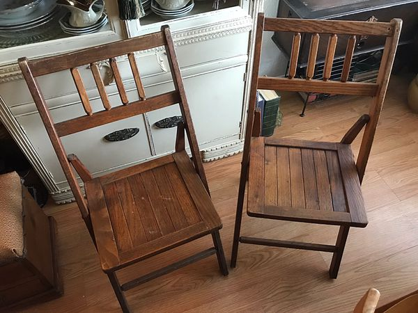 Two Vintage Antique Wooden Folding Chairs For Sale In Kissimmee Fl Offerup