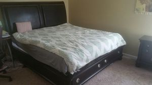 King size Bedroom Set with bed, dresser, end table and Gel Foam Matress for Sale in Leesburg, VA