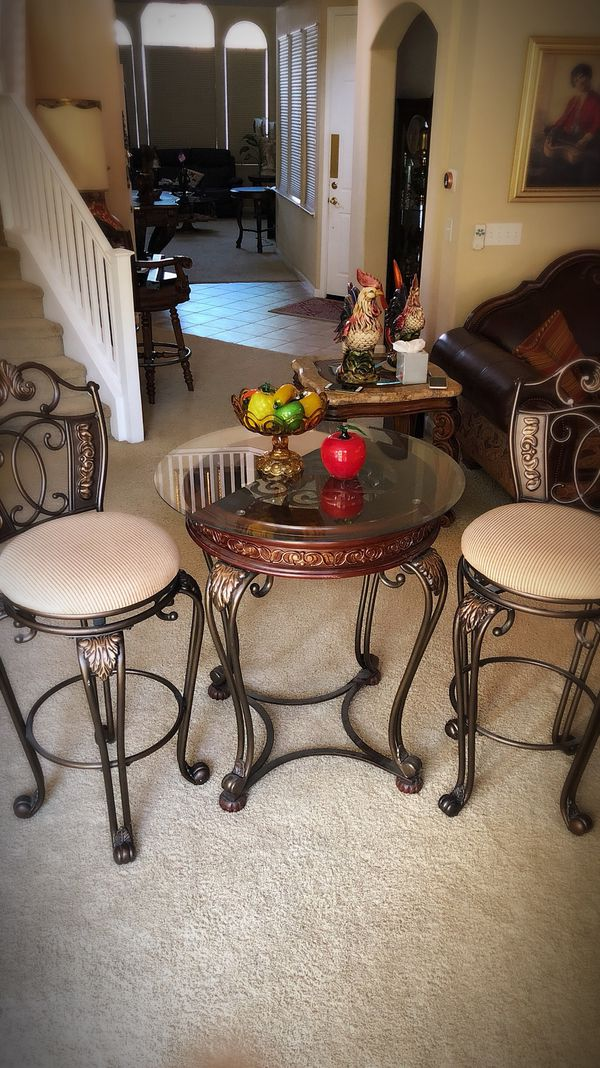 Ashley Furniture Pop Bar Table And Two Swivel Super Heavy Stools Like New Beautiful Luxury Designed In Modesto Ca Offerup
