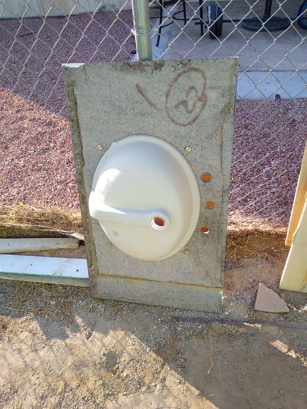 Free Bathroom sink green granite plus vanity for Sale in ...