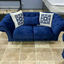 SAME-DAY DELIVERY 🎈Blue Velvet Sofa And Loveseat 🎈Delivery And Financing 🎈Store And Online Order Available 🎈🎈 Thumbnail