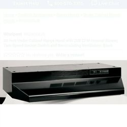30 Inch Under Cabinet Range Hood with 200 CFM Internal Blower, Two-Speed Rocker Switch and Recirculating Ventilation: Black Thumbnail