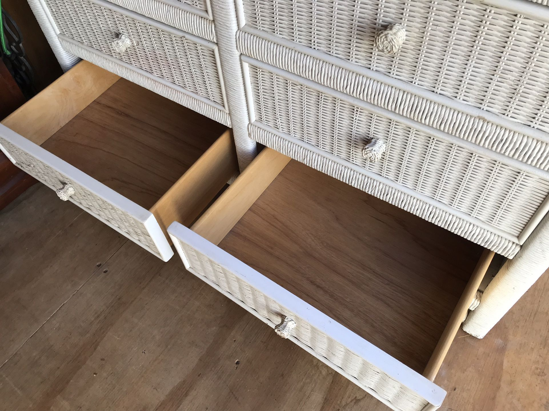 Vintage White Wicker Henry Link Lexington Double Dresser