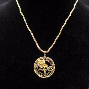 Vintage 14 Inch Gold Tone Flower Pendant Braided Necklace Costume Jewelry Fashion Statement Wedding Bohemian Elegant Bridal Theater Trendy for Sale in Everett, WA