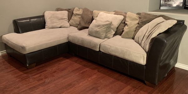 Ashley Furniture 2 Piece Sectional Brown Leather Cream Microfiber