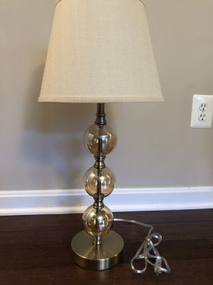 Brushed gold / glass lamp w/ shade for Sale in Sterling, VA