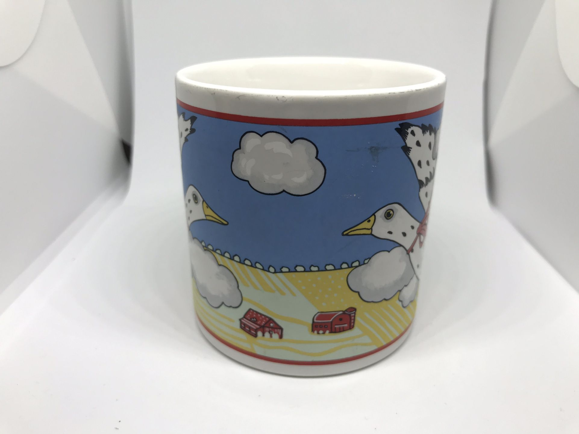 Andrea West Sigma Tastesetter Ceramic Coffee Tea Cup Collection Goose flying Over Farm