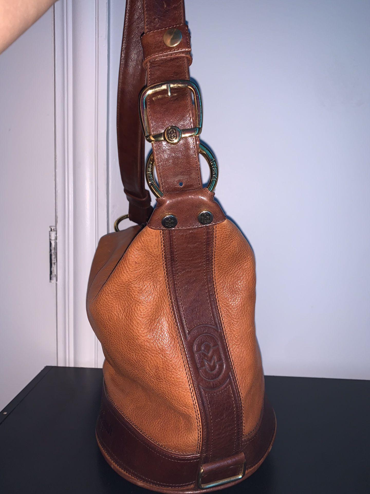 Vintage brown Marino Orlandi Heavy Leather Bucket Bag
