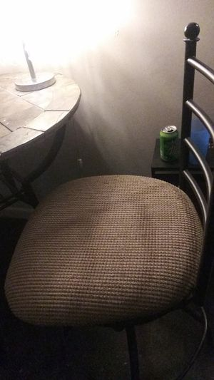 Stone black metal pub table and 2 chairs sturdy for sale  Tulsa, OK