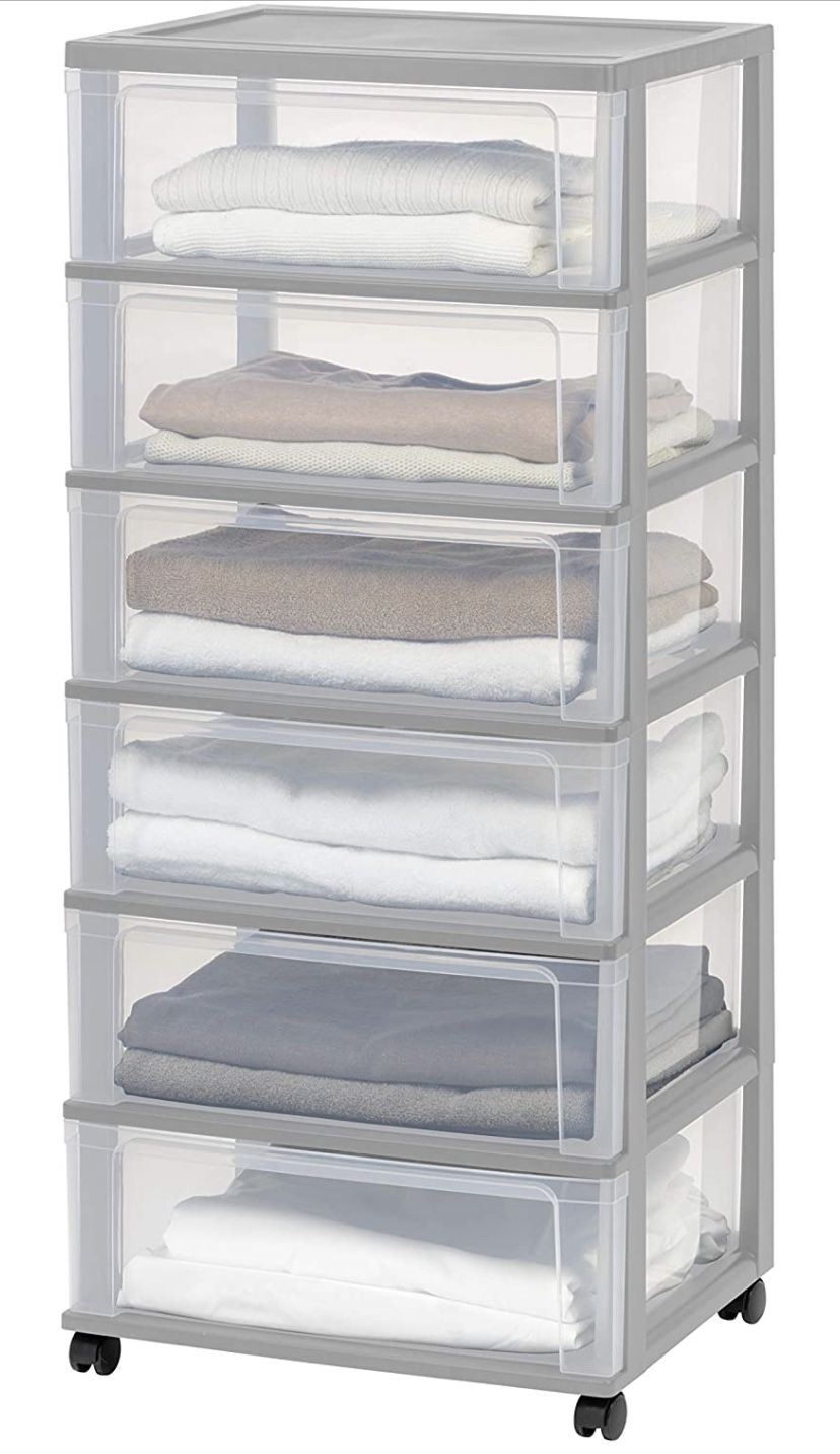 IRIS USA 110311 Wide Storage Drawer Cart, 6, Gray - NEW