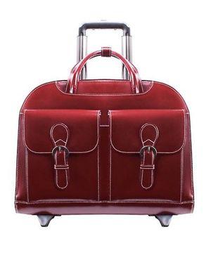 3e2baa451747 McKlein Women's Davis 15.6 Dual Front Pockets Leather Wheeled Laptop ...