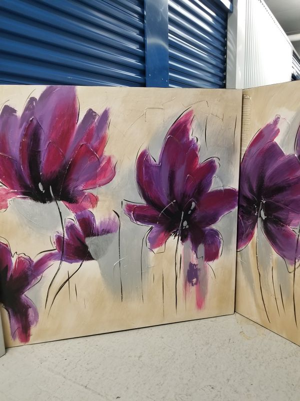 Beautiful purple flowers wall decor for Sale in Owings Mills, MD ...