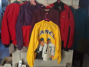 Photo Colorful VTG Vintage 90's Camel LL Bean (Burgundy / Teal) Anorak Patagonia Polo (Red) Bomber Windbreaker Adult Men's Size Large Made USA bundle lot