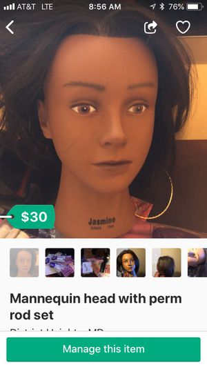 Mannequin head with perm rod set for Sale in Capitol Heights, MD